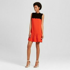 Medium orange black Victoria Beckam mini dress